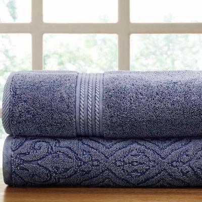 Pacific Coast Textiles Fleur Lattice Denim Wash 2-pack Bath Towel Set