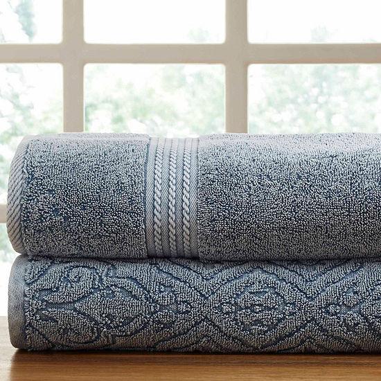 Pacific Coast Textiles Fleur Lattice Denim Wash 2-pc. Solid Bath Towel Set