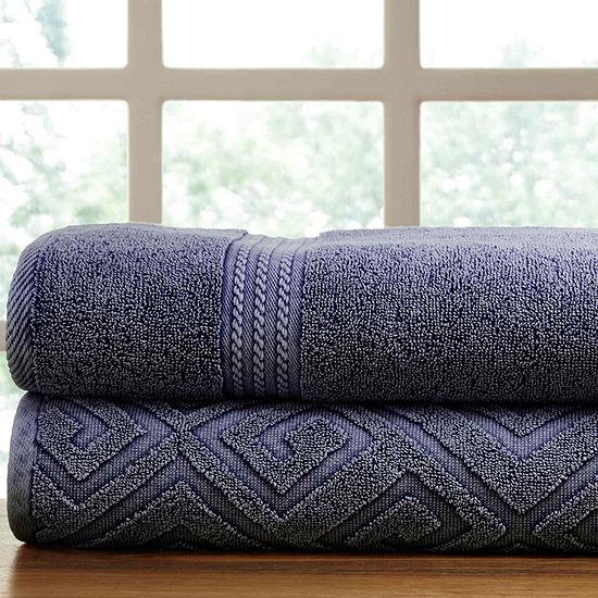 Pacific Coast Textiles Deco Diamond Denim Wash 2-pc. Solid Bath Towel Set