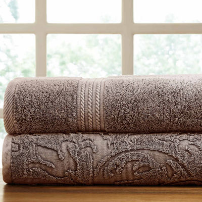 Pacific Coast Textiles Filigree Leaf Denim Wash 2-pc. Bath Towel Set