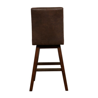 Cedar Nailhead Trim Wood Swivel Bar Stool