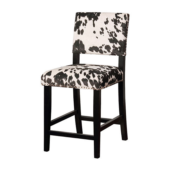 Clayton Cow Print Upholstered Nailhead Trim Counter Stool