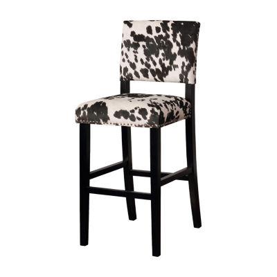 Clayton Cow Print Upholstered Nailhead Trim Bar Stool
