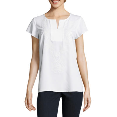 Liz Claiborne Flutter Sleeve Split Crew Neck Embroidered Blouse