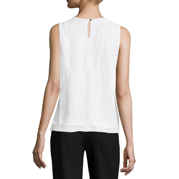 Liz Claiborne Sleeveless Crew Neck Lace Bubble Hem Blouse