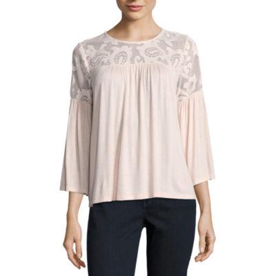 Liz Claiborne 3/4 Bell Sleeve Lace Yoke Jersey Top