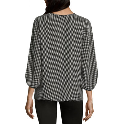 Como Black Blouson Sleeve V Neck Crepe Blouse