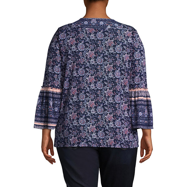 3/4 Bell Sleeve Print Mix Blouse - Plus