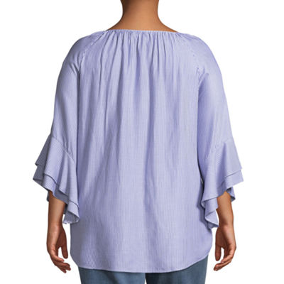3/4 Ruffle Sleeve Peasant Blouse - Plus
