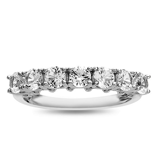 Womens Lab Created White Sapphire Sterling Silver Cocktail Ring