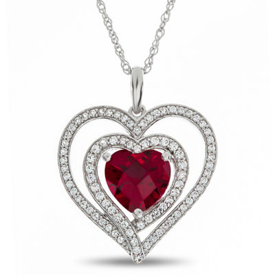 Womens Lab Created Red Ruby Sterling Silver Heart Pendant Necklace