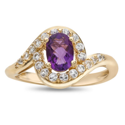 Womens Genuine Purple Amethyst Gold Over Silver Cocktail Ring