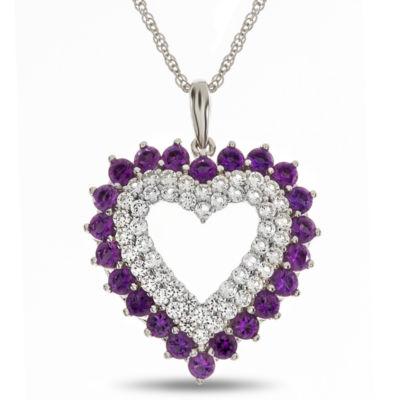 Womens Purple Amethyst Sterling Silver Pendant Necklace