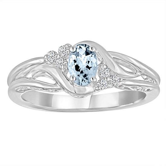 Womens Genuine Aquamarine & Lab-Created White Sapphire Sterling Silver Cocktail Ring