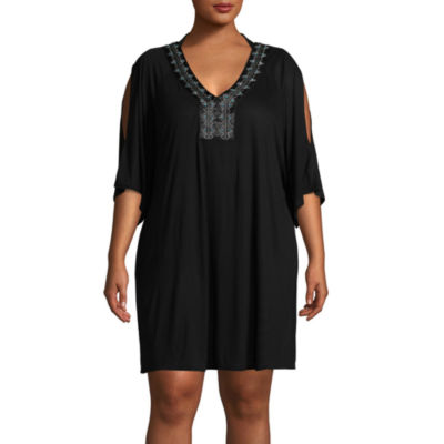 Wearabouts Jersey Swimsuit Cover-Up Dress-Plus