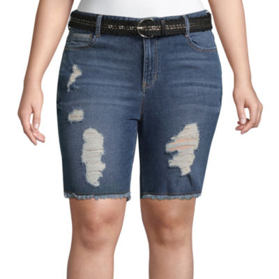 "Wallflower 9"" Denim Bermuda Shorts-Juniors Plus"