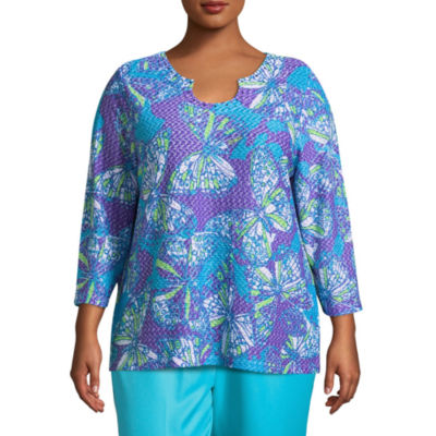 Alfred Dunner All Aflutter Abstract Butterfly T-Shirt- Plus