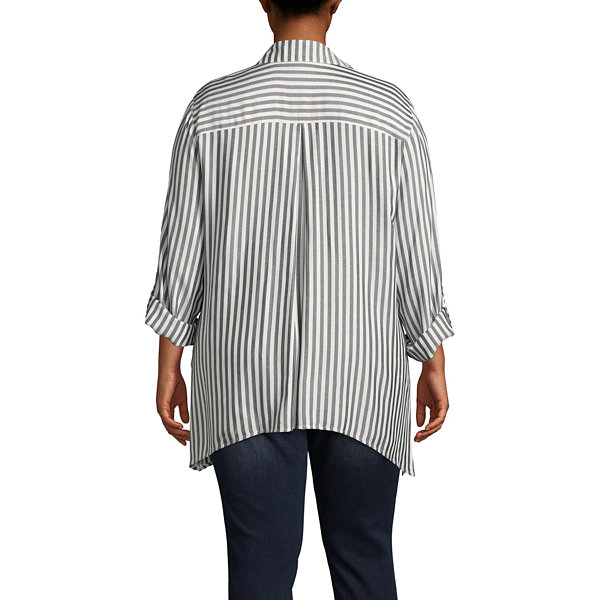 Lark Lane Ivory Coast Button Front Stripe Shirt- Plus