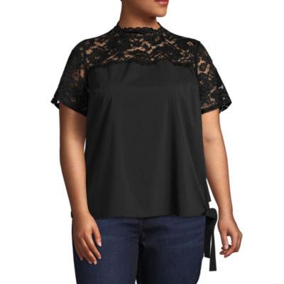 Boutique + Short Sleeve Mock Neck Woven Blouse - Plus