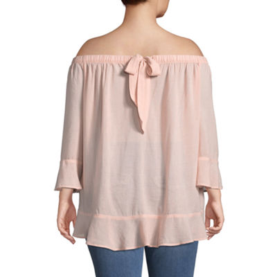 Boutique + 3/4 Sleeve Woven Blouse - Plus