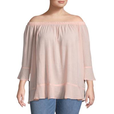 Boutique + Off the Shoulder 3/4 Sleeve Woven Blouse - Plus