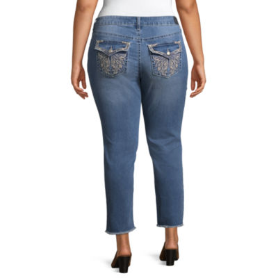 Love Indigo Embellished Pocket Crop Jean - Plus