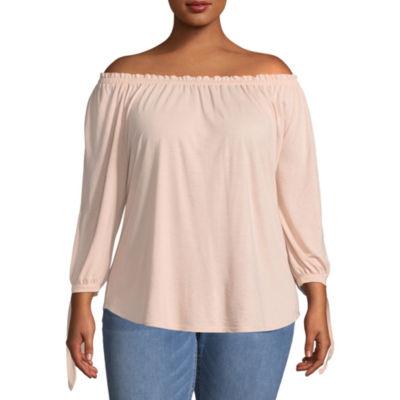 Boutique + 3/4 Sleeve Off the Shoulder T-Shirt - Plus