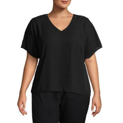Worthington Short Sleeve Lace up Shoulder Woven Blouse - Plus