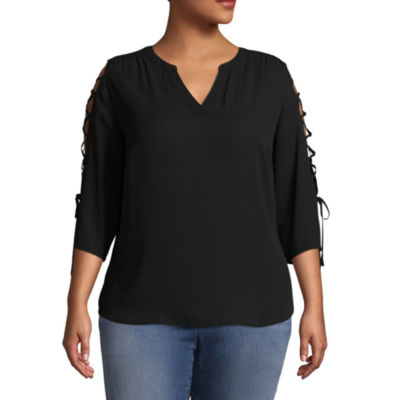 Worthington 3/4 Lace up Sleeve Woven Blouse - Plus
