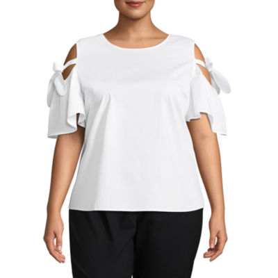 Worthington Short Sleeve Cold Shoulder Woven Blouse - Plus