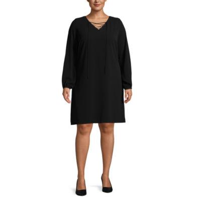 Worthington Long Sleeve Lace up Swing Dresses - Plus