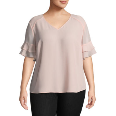 Worthington Short Sleeve V Neck Woven Blouse - Plus