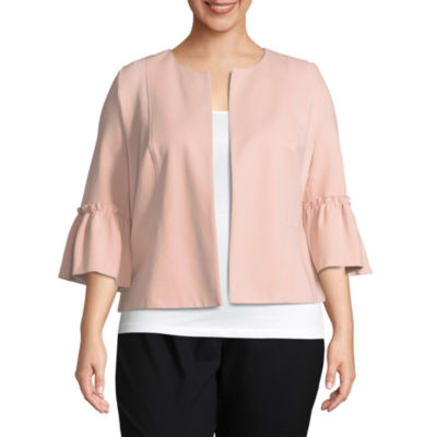 Worthington Ruffled Sleeve Crop Jacket - Plus