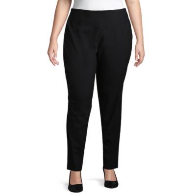 Worthington Curvy Woven Pull-On Skinny Pants - Plus