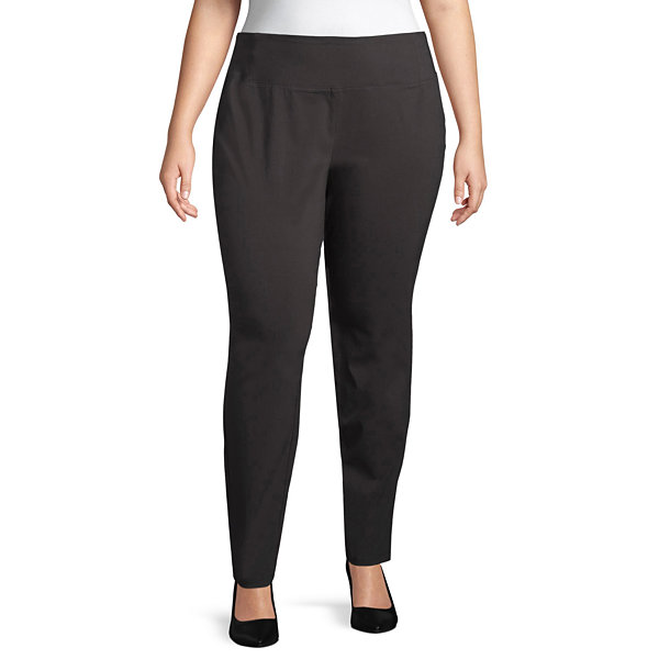 Worthington Curvy Fit Woven Pull-On Pants - Plus
