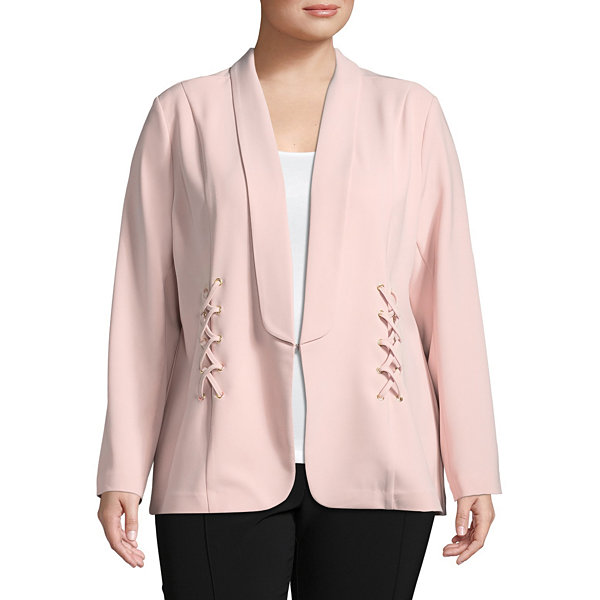 Bold Elements Lace Up Blazer-Plus