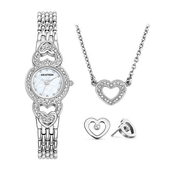 Armitron Womens Crystal Accent Silver Tone Bracelet Watch-75/5650mpsvst
