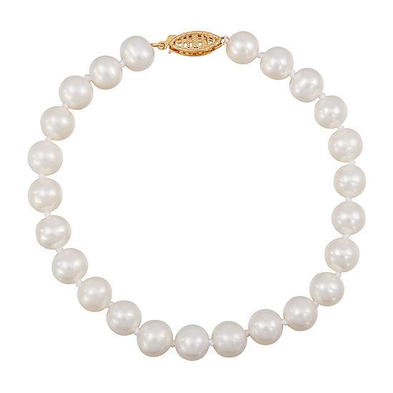 Sofia White Cultured Freshwater Pearl 14k Gold Beaded Bracelet