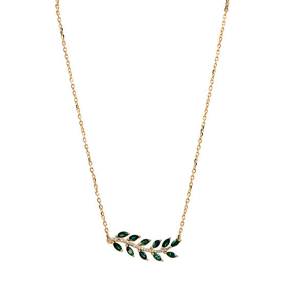 Womens Genuine Green Emerald 10K Gold Pendant Necklace