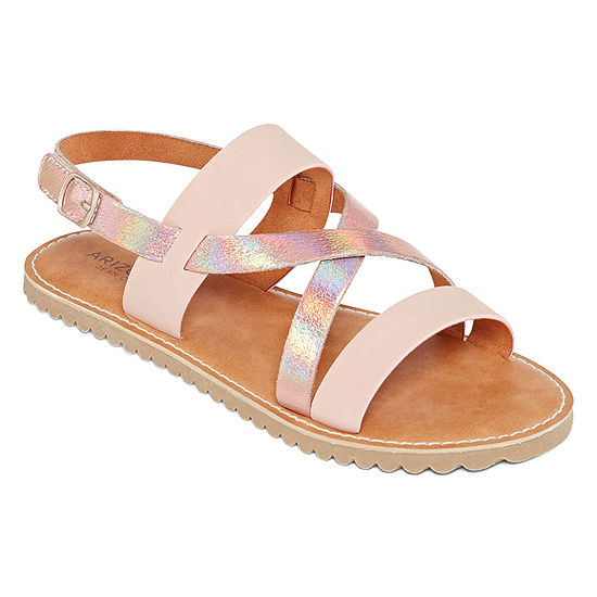 Arizona Little Kid/Big Kid Girls Verona Criss Cross Strap Flat Sandals