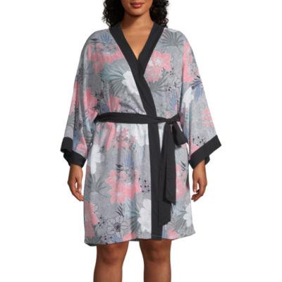 Ambrielle Womens-Plus 3/4 Sleeve Mid Length Kimono Robes