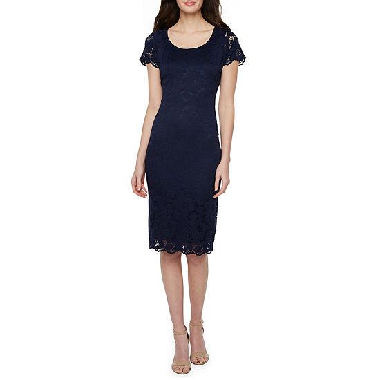 Ronni Nicole Short Sleeve Floral Midi Sheath Dress