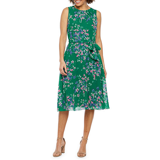 Jessica Howard Sleeveless Floral Fit Flare Dress
