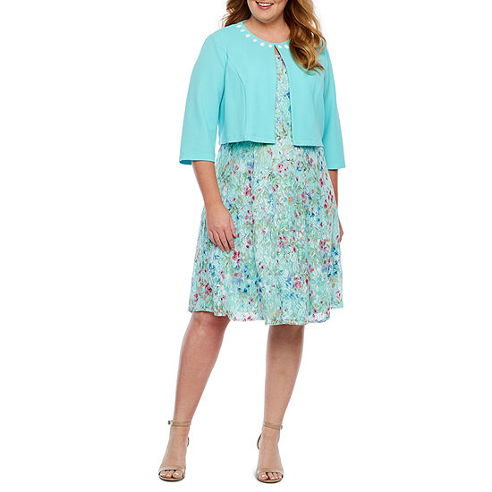 Perceptions 3/4 Sleeve Floral Lace Jacket Dress-Plus
