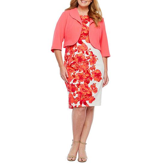 Maya Brooke 3 4 Sleeve Jacket Dress Plus