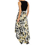 Blu Sage Sleeveless Floral High Low Evening Gown