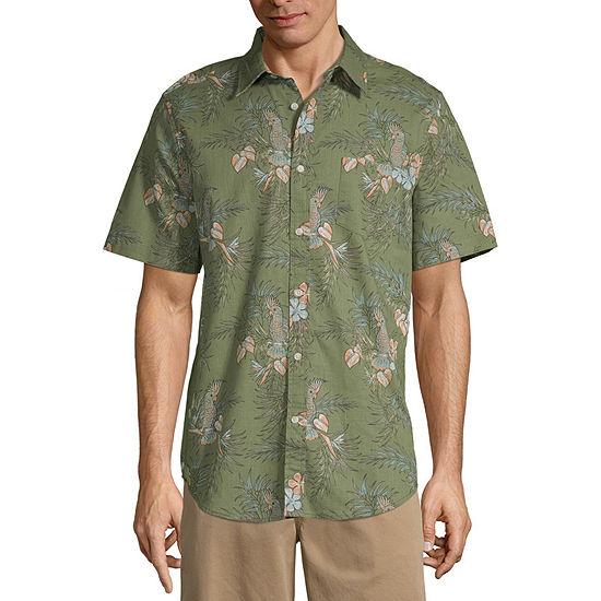 St John S Bay Mens Short Sleeve Button Front Shirt Jcpenney