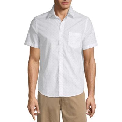 St. John's Bay Mens Short Sleeve Dots Button-Front Shirt