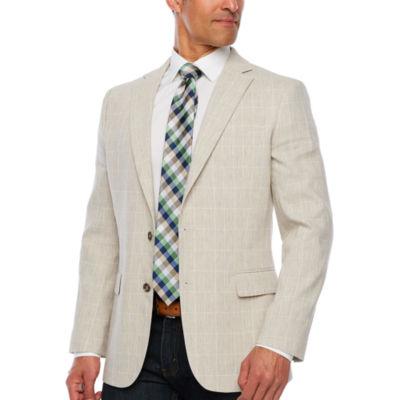 Stafford Light Tan Plaid Slim Fit Sport Coat
