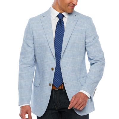 Stafford Blue Green Deco Slim Fit Sport Coat